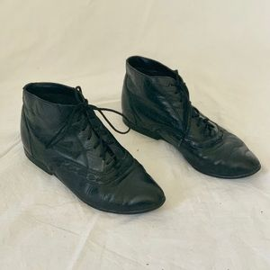 Vintage 80s Black Leather Ankle Boots, Size 5.5